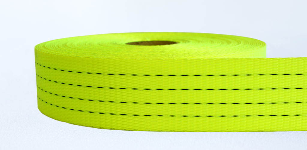 50mm-4 Ton Industrial Webbing Stiff Neon Yellow - Weavewell
